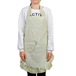 Kitchen Plaid Pattern Front Patch Pocket Waist Tie Cooking Apron Bib Light Green