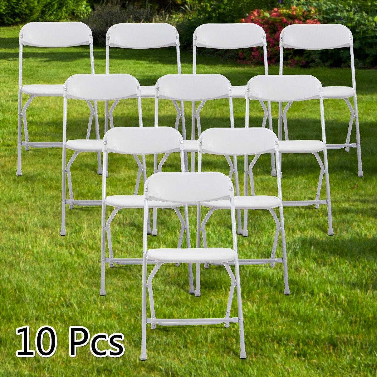 10 Pcs Plastic Folding Chairs Wedding Party Chairs Stackable White Overstock 31647520