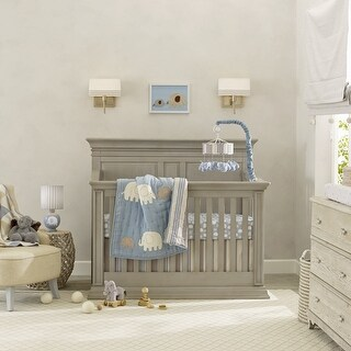 Lambs & Ivy Blue Elephant Tales 6-Piece Crib Bedding Set