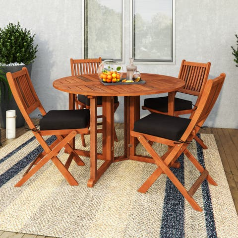 CorLiving Miramar Natural Hardwood Outdoor Folding Dining Set, 5pc