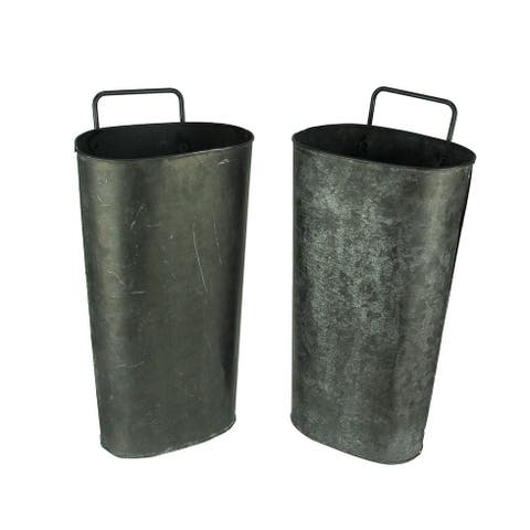 Distressed Black Washed Tin Wall Pocket Set of 2 - 16.25 X 7.75 X 5.5 inches
