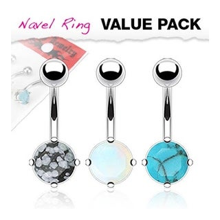 3 Pcs Pack of Assorted Precious Stone Prong-Set Navel Belly Button Ring