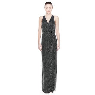 Parker Theron Sleeveless Beaded Halter Evening Gown Dress