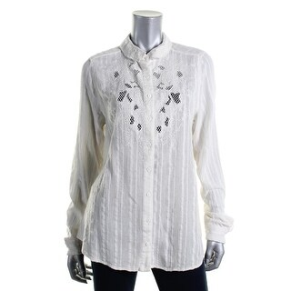 Free People Womens Cotton Crochet Trim Button-Down Top