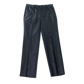 INC NEW Charcoal Gray Mens Size 36x32 Herringbone Flat Front Dress Pants