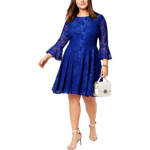 City Studio Womens Cocktail Dress Lace Bell Sleeve