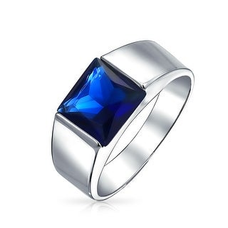 Bling Jewelry Imitation Sapphire Engagement Ring for Men Rhodium Plated Brass - Blue