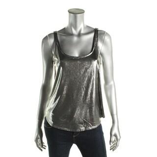 Aqua Womens Metallic Sleeveless Tank Top - S