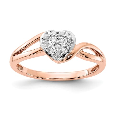 10K Rose Gold Polished Diamonds Cluster Heart Ring by Versil