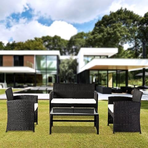 Outdoor 4-Piece Leisure Rattan Furniture Dining Set Patio Set