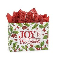 "Pack of 25, Vogue Holly Berry Tidings Paper Bag 16 x 6 x 12"" For Christmas Packaging, 100% Recyclable,"