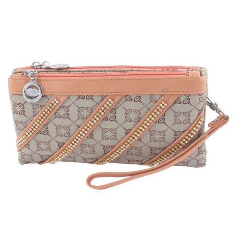 Lady Faux Rhinestone Decor 3 Compartments Zip up Shoulder Bag w Strap