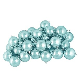 "32ct Shiny Mermaid Blue Shatterproof Christmas Ball Ornaments 3.25"" (80mm)"
