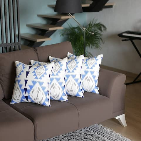 """Mike & Co. Ikat Printed Throw Pillow Cover 18""""x18"""" Set of 4"""