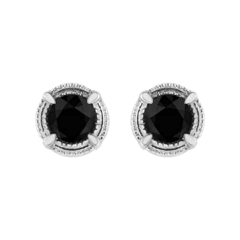 .925 Sterling Silver Treated Diamond 4-Prong Solitaire Milgrain Stud Earrings (Fancy Black/Green/Blue Color, I1-I2 Clarity)