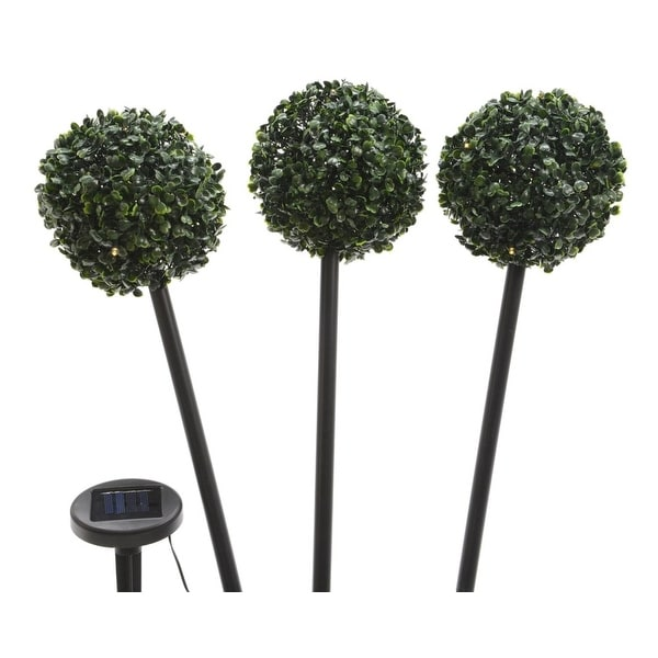 "Set of 3 Solar Powered Topiary Outdoor Patio Garden Lawn Stakes 19.5"" - Warm White LED Lights - Green"