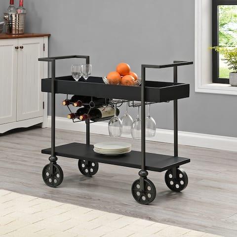 FirsTime & Co. Factory Row Industrial Farmhouse Wheeled Bar Cart - 30 x 15 x 32.5 in