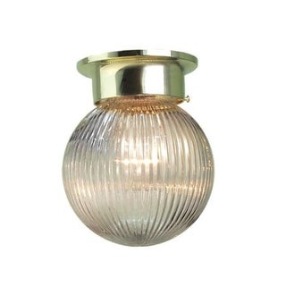 "Woodbridge Lighting 30007 Ball 1 Light 6"" Wide Single Globe Style Flush Mount Ceiling Fixture with Clear Ribbed Shade"