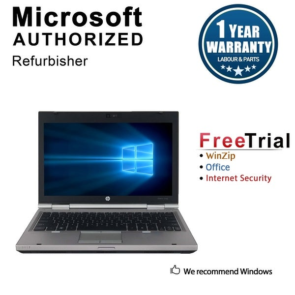 "Refurbished HP EliteBook 2560P 12.5"" Laptop Intel Core i7-2620M 2.7G 4G DDR3 500G DVDRW Win 10 Pro 1 Year Warranty - Silver"