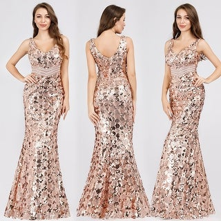 Ever-Pretty Womens Sequin Gold Sexy Long Formal Evening Prom Dress 07872