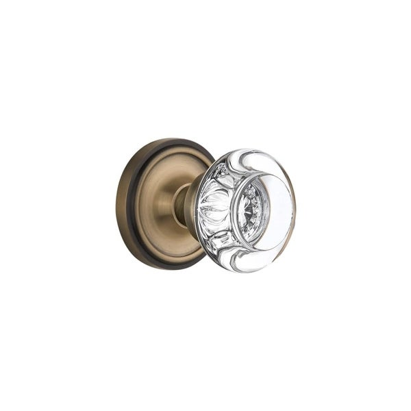 Nostalgic Warehouse CLARCC_SD_NK Round Clear Crystal Solid Brass Single Dummy Knob with Classic Rose