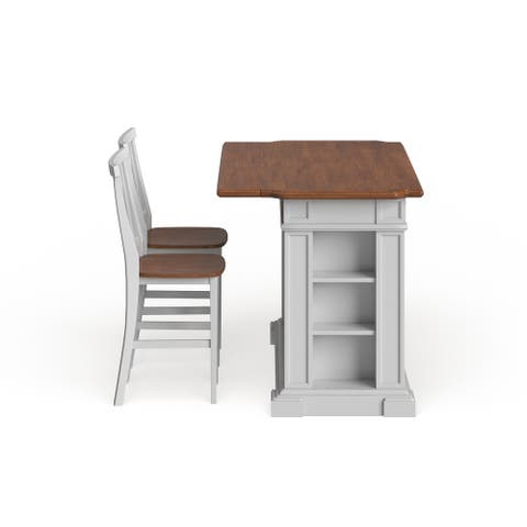 Copper Grove Celosia White Distressed Oak Kitchen Island and Bar Stools