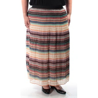 Womens Black Orange Striped Tea Length Peasant Skirt Size XL