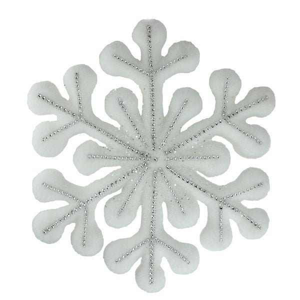 """10.5"""" White Glitter Snowflake Hanging Christmas Decoration - silver"""