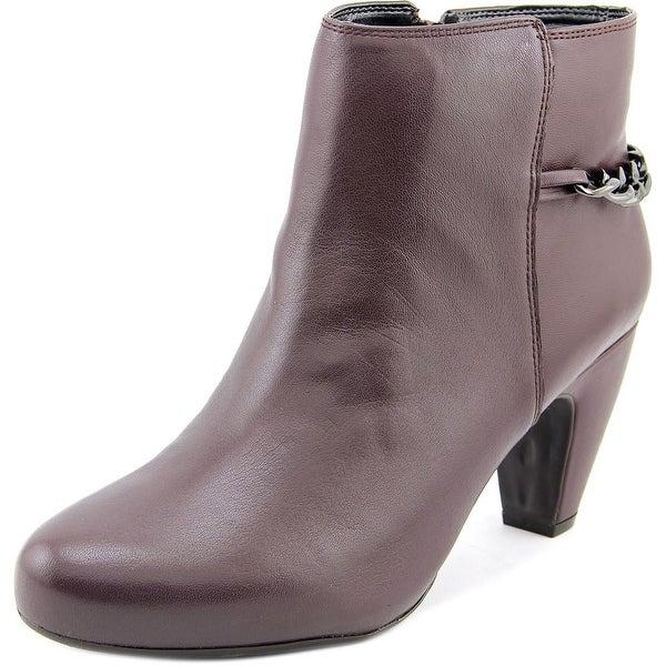 Easy Spirit Parilynn Women Round Toe Leather Burgundy Ankle Boot