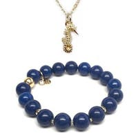 Blue Jade Bracelet & Seahorse Gold Charm Necklace Set