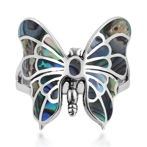 Handmade Exotic Graceful Butterfly Inlay Sterling Silver Ring (Thailand). Opens flyout.