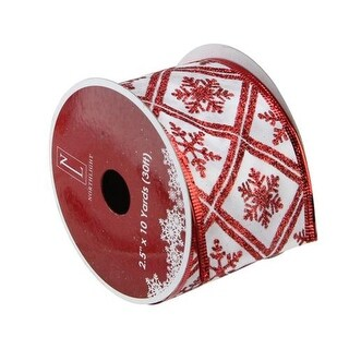 """White and Red Snowflake Wired Christmas Craft Ribbon 2.5"""" x 10 Yards"""