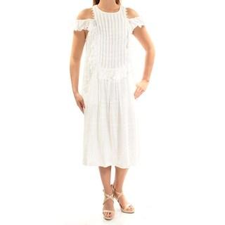 MAX STUDIO $118 Womens New 1625 Ivory Pocketed Jewel Neck Midi Shift Dress L B+B