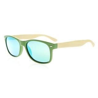 Eyekepper Quality Spring Hinges Bamboo Wood Arms Classic Womens Polarized Sunglasses Green Mirror Lenses