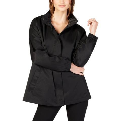 Eileen Fisher Womens Anorak Jacket Stand Collar Hidden Hood - Black