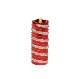 """8"""" Red and Gold Glitter Striped Flameless LED Christmas Pillar Candle - N/A"""