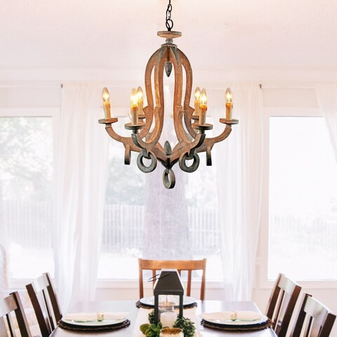 Farmhouse 6-Light Candle Distressed Wood Chandelier