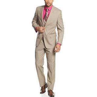 Sean John Tan Mini Check 2-pc Suit 36 Regular 36R Flat Front Pants 30 Waist