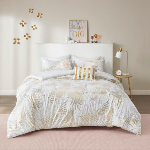 Camilla Gold Tropical Metallic Printed Comforter Set by Intelligent Design