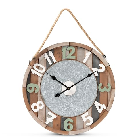 """Garrison Vintage Farmhouse Silver Metal and Multicolored Wood Wall Clock - 23.5"""" High x23.5"""" Wide x2.6"""" Deep"""