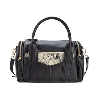 Steve Madden Womens Bpully Satchel Handbag Faux Leather Convertible - Black Multi - MEDIUM