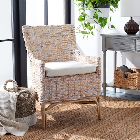 "Safavieh Cristen Rattan Accent Chair with Cushion - 24"" W x 27.6"" L x 35"" H"