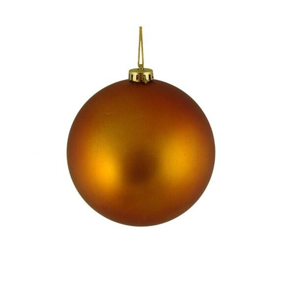 """Matte Burnt Orange Shatterproof Christmas Ball Ornament 6"""" (150mm)"""