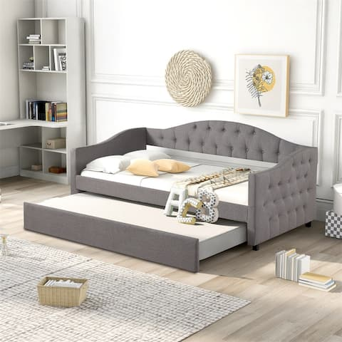 Merax Upholstered Twin Size Daybed with Trundle