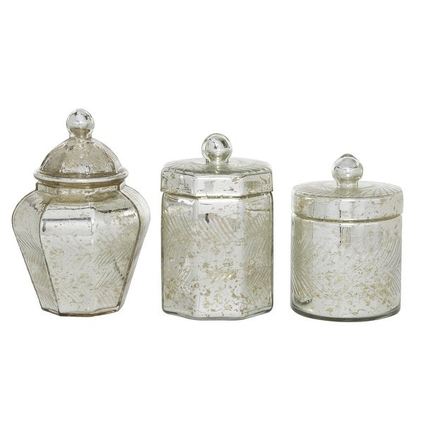 """Antique Silver Mercury Glass Jars With Lid Set Of 3 7"""" 8"""" 9"""" - 5 x 5 x 8. Opens flyout."""