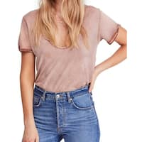 Free People Women's Small Scoop Neck Lace Inset T-Shirt Top