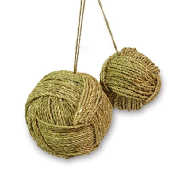 Pack of 8 Country Rustic Polyform Wrapped Twine Christmas Ball Ornaments - brown