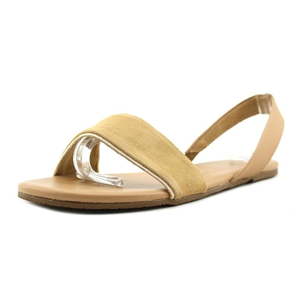 Tkees Charlie Women Open-Toe Leather Tan Slingback Sandal