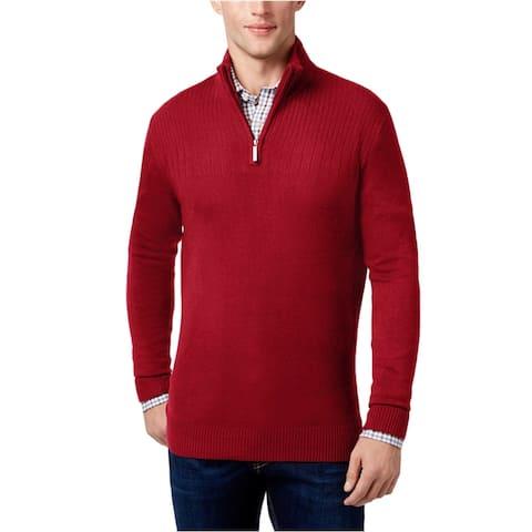 Geoffrey Beene Mens Ribbed Yoke 1/4 Zip Pullover Sweater