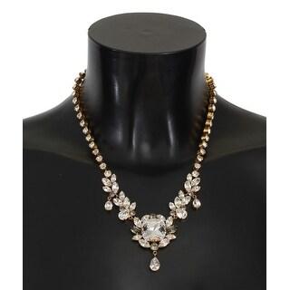 Dolce & Gabbana Gold Brass Clear Gray Crystal Sicily Necklace